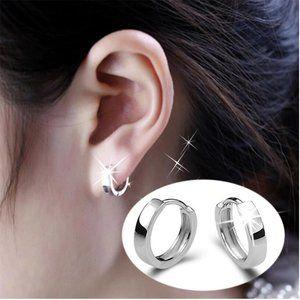 NEW 925 Sterling Silver Simple Hoop Earrings